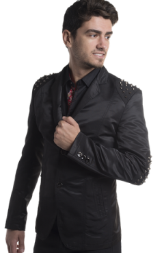 blazer with metal patch  studs on shoulders and elbows moist melrose