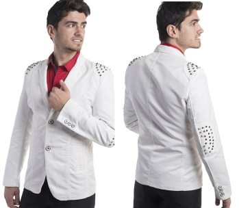 blazer with metal patch studs on shoulders and elbows moist melroseE