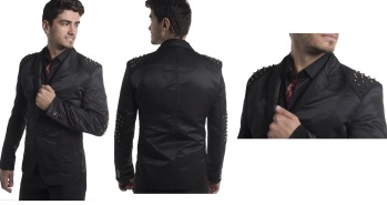 blazer with metal patch studs on shoulders and elbows moist melroseS