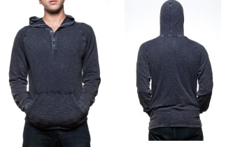 PX GENUINE HENLEY HOODIE BLUE MOIST MELROSE