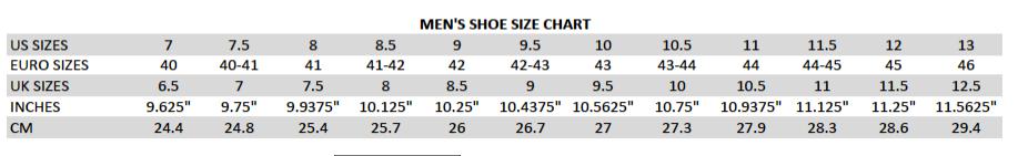 MENS J75 SIZE CHART